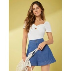 Ruched Bust Peekaboo Solid Top found on Bargain Bro Philippines from Sheinside for $10.00