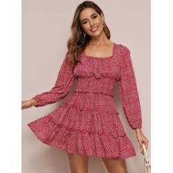 Frill Trim Ditsy Floral Print Shirred Dress