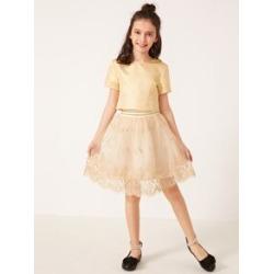 Girls Zip Back Top & Embroidery Mesh Skirt Set