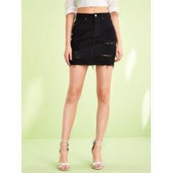 Raw Hem Ripped Detail Denim Skirt