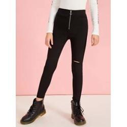 Girls Ripped Detail O-ring Zip Front Skinny Pants