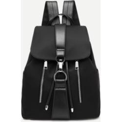 Metal Ring Detail Zipper Backpack