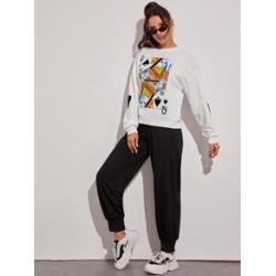 Poker Print Crew Neck Sweatshirt & Sweatpants
