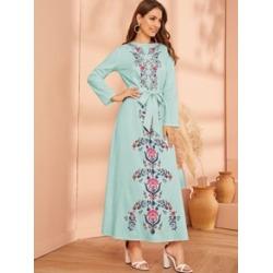 Floral Print Belted Hijab Dress