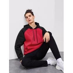 Men Contrast Raglan Sleeve Hooded Sweatshirt found on Bargain Bro Philippines from Sheinside for $22.00