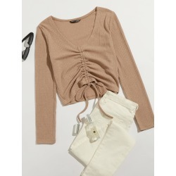 Drawstring Front Rib-knit Tee found on Bargain Bro from SHEIN for USD $6.41