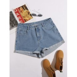 Plus Rolled Hem Denim Shorts found on Bargain Bro Philippines from Sheinside for $16.00