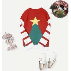 Girls Christmas Print Striped Sweater
