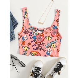 Notched Neck Lettuce Trim Letter and Floral Print Tank Top found on Bargain Bro from SHEIN for USD $4.10