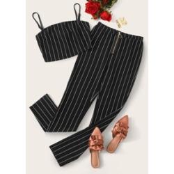 Striped Cami Top & Zip Fly Pants Set