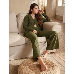 V Neck Button Front Solid Lounge Set found on Bargain Bro India from SHEIN for $27.41
