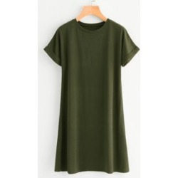 Plus Rolled Cuff Tee Dress found on Bargain Bro Philippines from Sheinside for $14.00