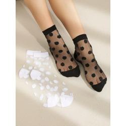 2pairs Polka Dot Mesh Socks