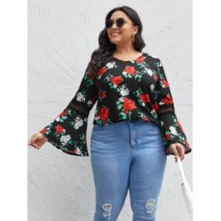 Plus All Over Floral Print Flounce Sleeve Blouse found on Bargain Bro from Sheinside for USD $11.40