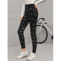 High Waist Allover Print Velvet Skinny Pants