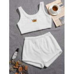 Crown Embroidery Flannel Pajama Set
