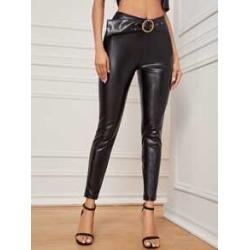 High Waist Belted PU Leather Skinny Pants