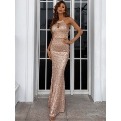 Keyhole Neck Sequin Fishtail Hem Prom Dress found on Bargain Bro Philippines from SHEIN for $66.94
