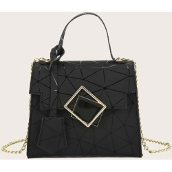 Geometric Flap Chain Satchel Bag found on Bargain Bro from SHEIN for USD $5.89