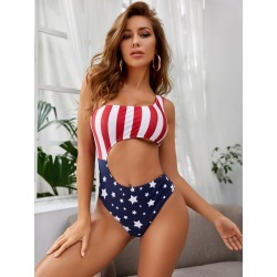 American Flag Cut-out One Piece Swimsuit