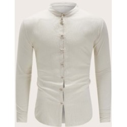 Men Stand Collar Button Up Shirt