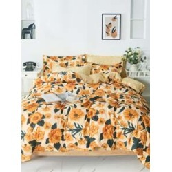 Flower Overlay Print Bedding Sets Without Filler