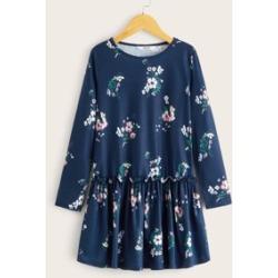 Girls Frill Trim Floral Smock Dress