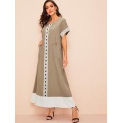 Lace Applique Pocket Front Hijab Dress