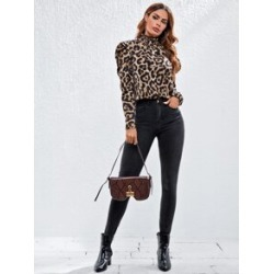 Leopard Stand Collar Top