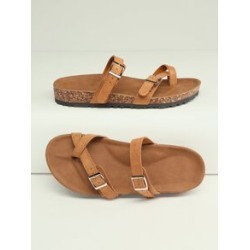 Toe Ring Double Buckle Cork Sole Slide Sandals