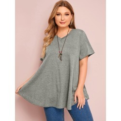 Plus Marled V Neck Swing Tee found on Bargain Bro India from SHEIN for $14.45