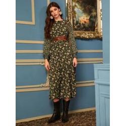 Ditsy Floral Frill Cuff Smock Dress