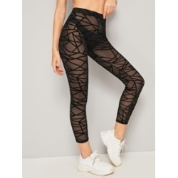 Geo Mesh Leggings Without Panties found on MODAPINS from Sheinside for USD $7.00