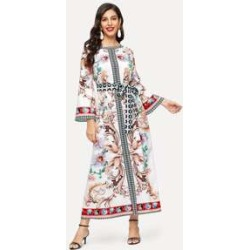 Mixed Print Bell Sleeve Self Belted Hijab Dress