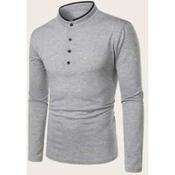 Men Stand Collar Long Sleeve Polo Shirt