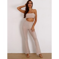 Glitter Crop Bandeau Top & Flare Leg Pants Set found on Bargain Bro from SHEIN for USD $17.56
