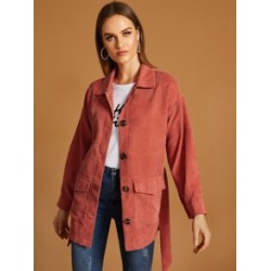 Pocket Side Solid Corduroy Outerwear