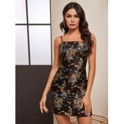 Dragon Print Fitted Cami Dress