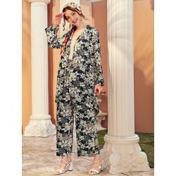 All Over Floral Print Blouse & Wide Leg Pants found on Bargain Bro from SHEIN for USD $21.95