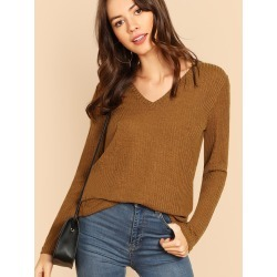 V Neck Rib Knit Tee found on Bargain Bro from SHEIN for USD $8.99