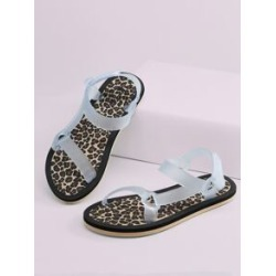 Leopard Sole Velcro Ankle Jelly Sandals