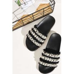 Faux Pearl Decor Flat Sliders found on Bargain Bro India from Sheinside for $10.00