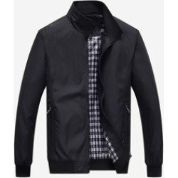 Men Stand Collar Solid Jacket