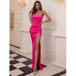 Twist Front Split Thigh Satin Prom Dress found on Bargain Bro India from Sheinside for $32.00