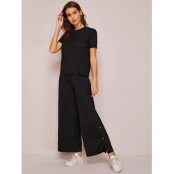 Rib-knit Top & Press Buttoned Side Wide Leg Pants Set