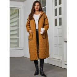 Contrast Binding Patch Pocket Quilted Hooded Coat