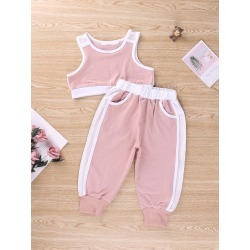 Toddler Girls Contrast Binding Tank & Fishnet Panel Sweatpants found on Bargain Bro Philippines from SHEIN for $20.72