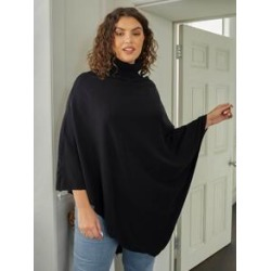 Plus Solid Turtleneck Poncho Sweater