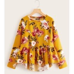 Floral Print Raglan Sleeve Dip Hem Peplum Pullover