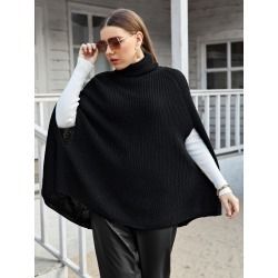 Plus Raglan Sleeve Turtleneck Poncho Sweater